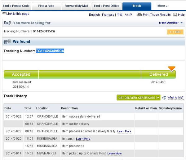 canada post tracking from newmarket