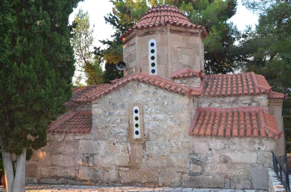 south facing wall of st. nicholas church, exarchos, greece